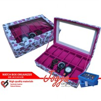 CUTE WHITE FLORAL WATCH BOX FOR 12 PCS WATCHES | KOTAK JAM ISI 12