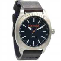 Superdry SYG103TBA Jam Tangan Pria Leather Strap Hitam Ring Silver