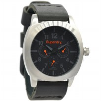 Superdry SYG104BA Jam Tangan Pria Leather strap Hitam Ring Silver