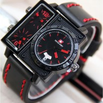 Jam Tangan Pria / Cowok Swiss Army Big Size SK2 Leather Black Red