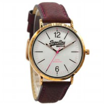 Superdry SYL194V Jam Tangan Wanita Leather Strap Coklat Ring Gold