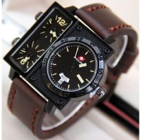 Jam Tangan Pria / Cowok Swiss Army Big Size SK2 Leather Dark Brown