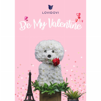 Valentine Puppies Flowers (Ukuran M: 30cm)