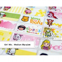 Mix Girl Sticker MEDIUM Name Label. Stiker karakter campur kartun cewe