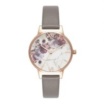 Olivia Burton OB16MF08 Marble Floral London Grey & Rose Gold | Grey Leather Strap