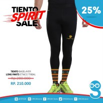Tiento Baselayer Compression Celana Olahraga Tight Legging Long Pants Black Etnic Tribal Original