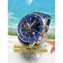 Alain Delon AD405-1382C Rose Gold Blue - Jam Tangan Pria Original