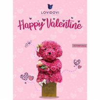 Puppies Valentine Edition + Tie + Rose (Ukuran L: 40cm)