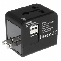 Universal Travel Adapter 3 in 1 EU UK USA Plug with 2.1A USB Port untuk Bepergian