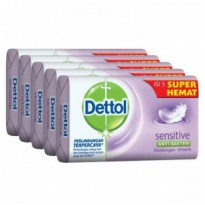 Dettol Bar Soap Sensitif 105g Hemat 5pcs