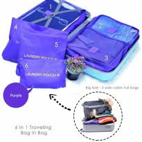 Traveling bag in bag / ULTIMATE BIG SIZE Travel Bag 6in1 Organizer IM OR 60-03 / Organizer Space Koper 1 Set - purple