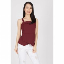 Ferdon Peplum Top In Maroon