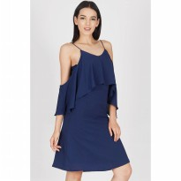 [BERRYBENKA] Hiera Navy Off Shoulder Dress