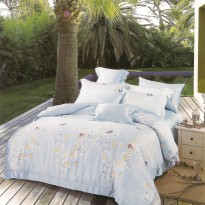 Sleep Buddy set Sprei dan Bed Cover Blue Butterfly Organic Cotton Exra kIng size