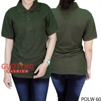 Basic Polo Shirts Wanita Hijau Army POLW 60
