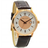 Charles Jourdan 217-16-6 Jam Tangan Pria Leather Strap Coklat ring Rosegold