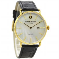 Charles Jourdan 1001-1252 Jam Tangan Pria Leather Strap Hitam Ring Gold