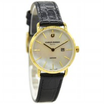 Charles Jourdan 1001-2252 Jam Tangan Wanita Leather Strap Hitam ring Gold