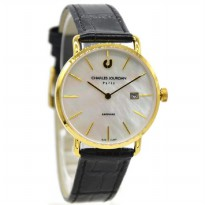 Charles Jourdan 1001-3252 Jam Tangan Wanita Leather Strap Hitam ring Gold