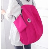 Iconic 3 Way Foldable Bag with Carrying Pouch: Color Hot Pink