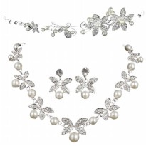 Wedding/Party/Formal Occasions Pretty Pearl Necklace-Earrings-Crown/Set 3 Kalung,Anting dan Tiara