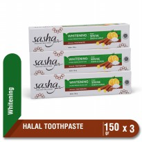 11k+[3 PCS] Sasha Tooth Paste Whitening 150 gr  Kino Pasta Gigi Herbal Siwak Lemon Garam Pemutih Alami