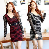 IMPORT Women Mini Dress Square Lines