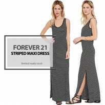 [FVR D02] DRESS WANITA - MAXI DRESS STRIP BRANDED WANITA - 3 COLORS - READY LIMITED STOCK - PAKAIAN GAUN WANITA - HIGH QUALITY