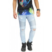 Biker Jeans Thigh And Knee Rips Soft Blue