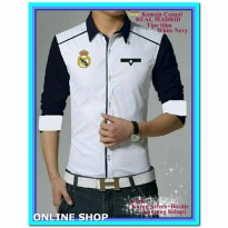(Atasan) Kemeja Casual Slim Fit Madrid White