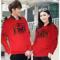 Baju Couple Lengan Panjang / Kaos pasangan / Kopel King Queen Red