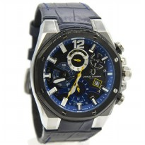 Charles Jourdan 1014-1385C Jam Tangan Leather Strap Navy Ring Hitam