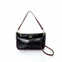 Coach Top Handle Pouch Debossed Patent - Black