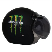 Helm Bogo JPN motif Monster Moviestars Jap Style Scooteris Hitam Doff