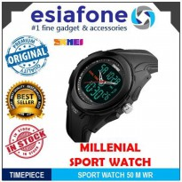 [esiafone happy sale] SKMEI Millenial Dual Time Black Sport Watch Jam Tangan Digital Analog - AD1157