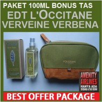 PAKET SPRAY EDT LOCCITANE VERVEINE VERBENA 100ML PLUS TAS KOSMETIK