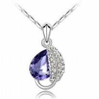 Kalung Amethyst Accacia leaf Pendant Necklace