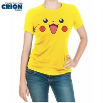 Kaos Pokemon Cewe - Pikachu Face - By Crion