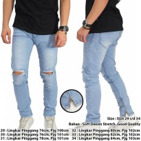 Jeans Knee Rips With Ankle Zip Soft Blue