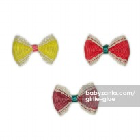 Girlie Glue Vintage Bows - Pink Yellow