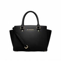 Michael Kors Selma Saffiano Leather Medium Satchel - Hitam ( DB055 Black )
