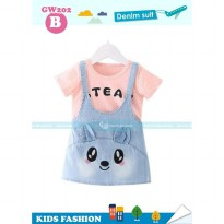 Baju Anak GW Peachypink Top Set Animal Face Overall