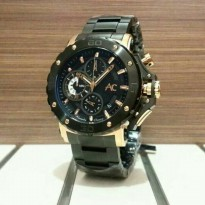 Jam Tangan Sport Pria Chain Alexandre Christie Ac-9205 Black Rose Gold Original Limited Edition