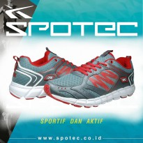SPOTEC SPC 2.5 - BEST RUNNING SHOES for Men, Grey/Merah