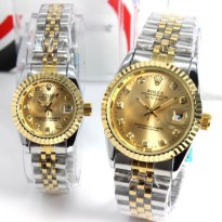 JAM TANGAN COUPLE ROLEX SILVER GOLD