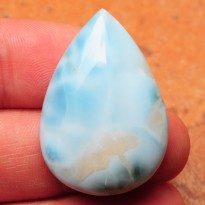 [LM106] Pear Cabochon 42.5ct 32x22x9mm Natural Unheated Larimar, Dominican Republic