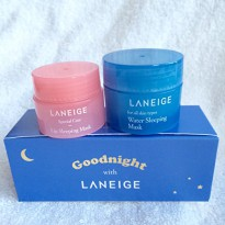 [100% Original Laneige] Goodnight Sleeping Care Kit / Water & Lip Sleeping Mask / Masker Wajah&Bibir