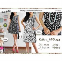 DRESS MINI MURAH DRESS STARY ANCHOR BLACK AND WHITE HYGET