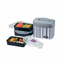 LOCK & LOCK Lunch Box 3 Pcs Set with Gray Stripe Bag HPL817DG