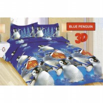 SPREI BONITA BLUE PENGUIN SIZE 2 QUEEN 160 SEPRAI SPRAI SEPRAY BED